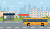 Bus stop and bus on city background.