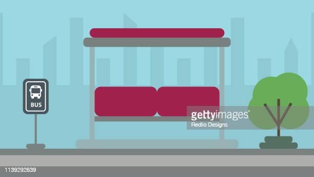 illustrations, cliparts, dessins animés et icônes de illustration d'arrêt de bus - abribus