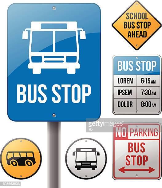 illustrations, cliparts, dessins animés et icônes de les panneaux indiquant l'arrêt de bus - abribus