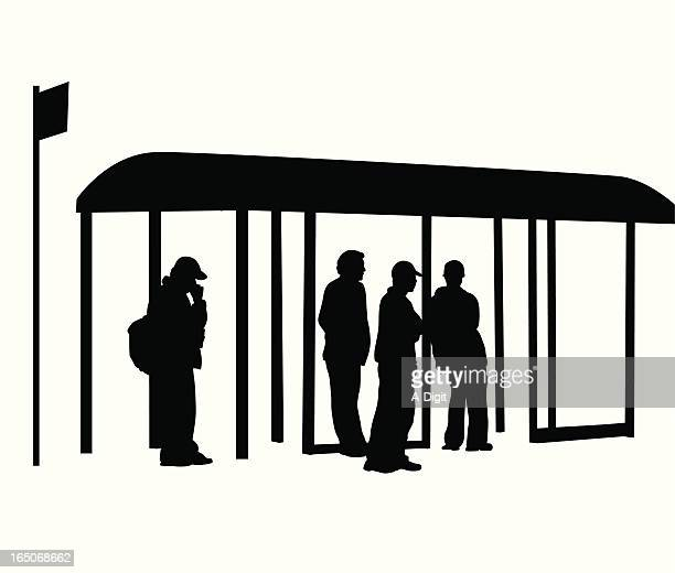 Bus Stop Waiting Vector Silhouette