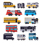 Bus vector public transport tour or city vehicle schoolbus sightseeing-bus transporting passengers illustration transportation set of transportable car isolated on white background