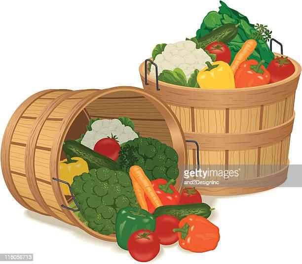 bushel baskets full of various vegetables - cauliflower stock illustrations, clip art, cartoons, & icons