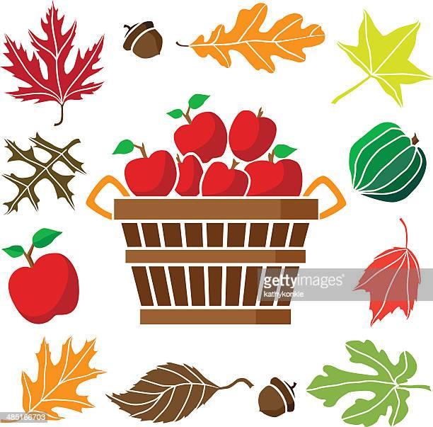 bushel of apples and autumn icon border