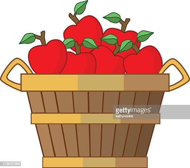 bushel of apples in color - basket stock illustrations