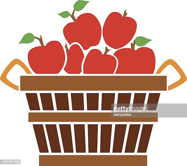 ilustraciones, imágenes clip art, dibujos animados e iconos de stock de bushel de manzana - puesto de mercado