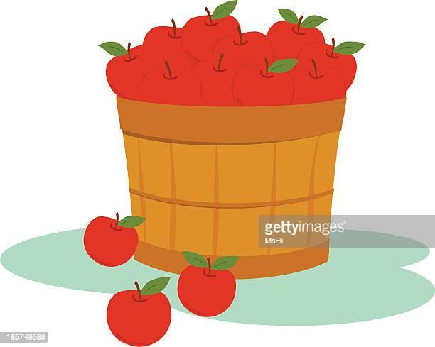 ilustraciones, imágenes clip art, dibujos animados e iconos de stock de bushel de manzanas rojas - puesto de mercado