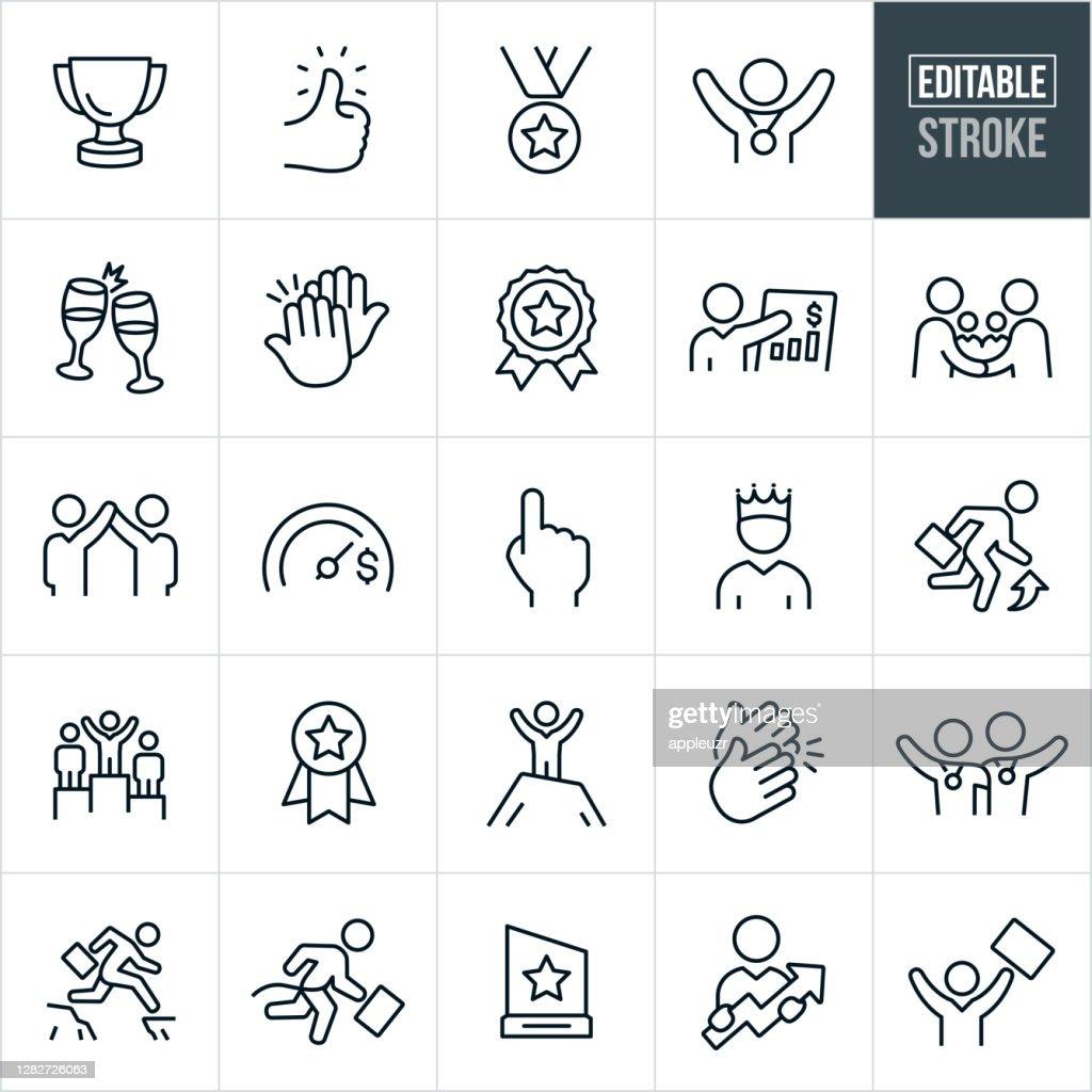 Business Achievement Thin Line Icons - Editable Stroke : Stock Illustration