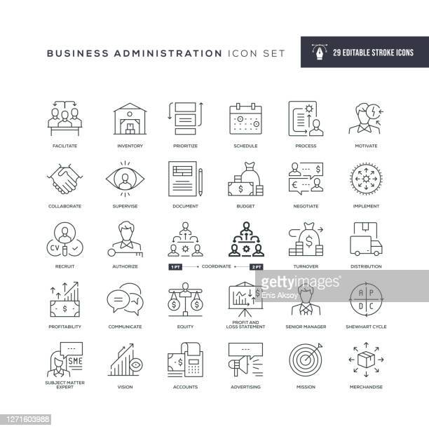 business administration editable stroke line icons - coordination stock illustrations