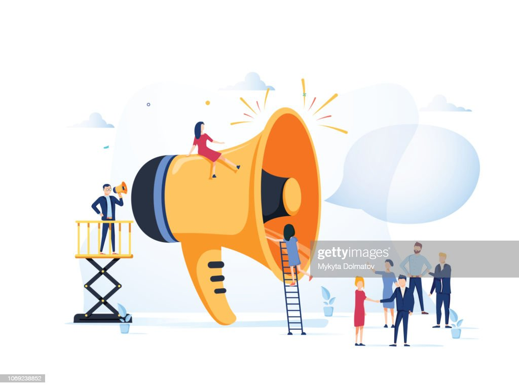 Business Advertising Promotion. Loudspeaker Talking to the Crowd. Big Megaphone and Flat People Characters Advertisement : stock illustration