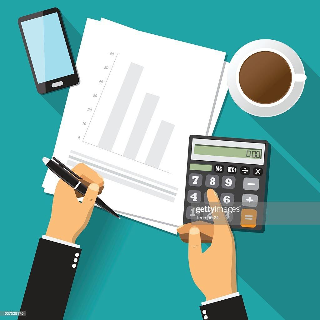 Business adviser financial audit, Vector illustration