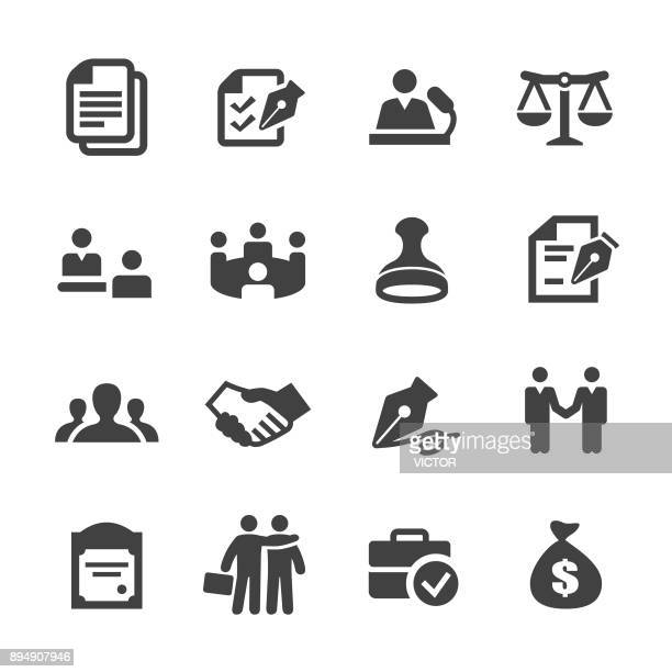 business agreement and cooperation icons - acme series - contract stock illustrations