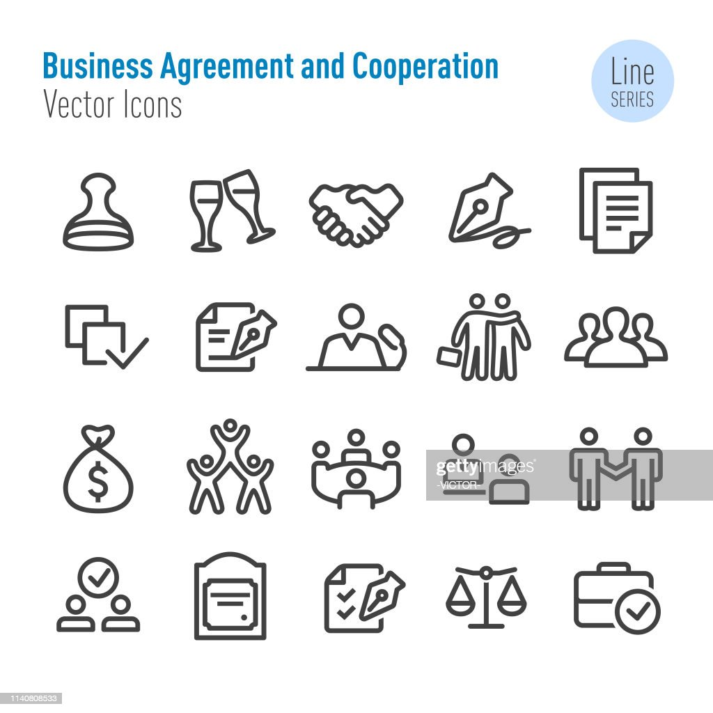 Business Agreement and Cooperation Icons - Vector Line Series : stock illustration