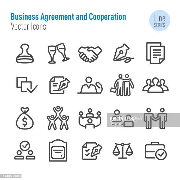 Business Agreement and Cooperation Icons - Vector Line Series