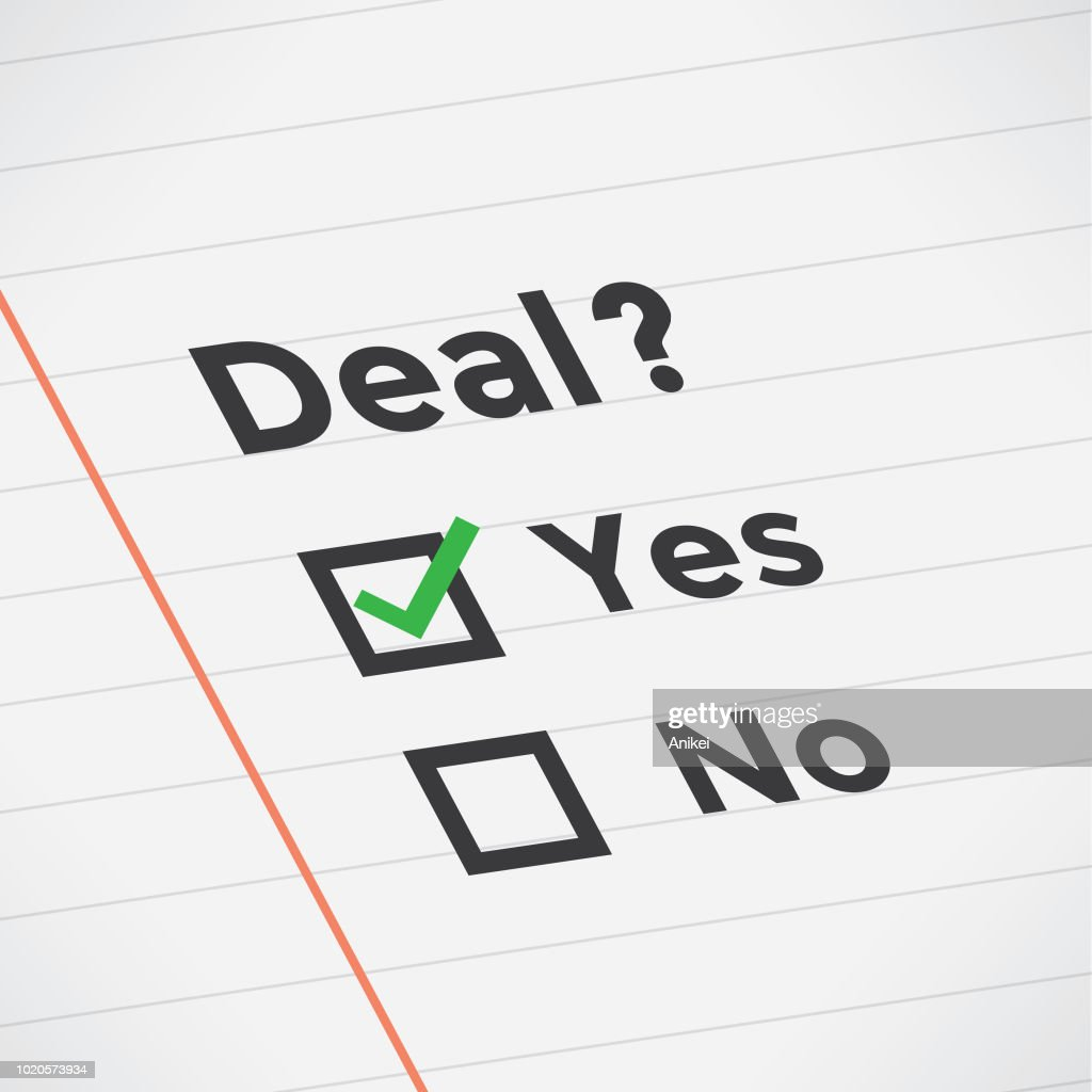 "Business agreement checklist with Deal? text, green ""Yes"" marker, lines and unchecked checkbox. Idea - Susseccful business negotiations, exams, winning, growth, profit, planning, goals, cooperating, management and company strategy concept."