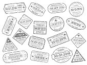 Business airport cachet mark and customs passports control stamp. Foreign travel and immigration passport official stamps vector set