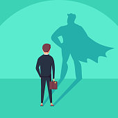 Business ambition and success vector concept. Businessman with superhero shadow as symbol of power, leadership.