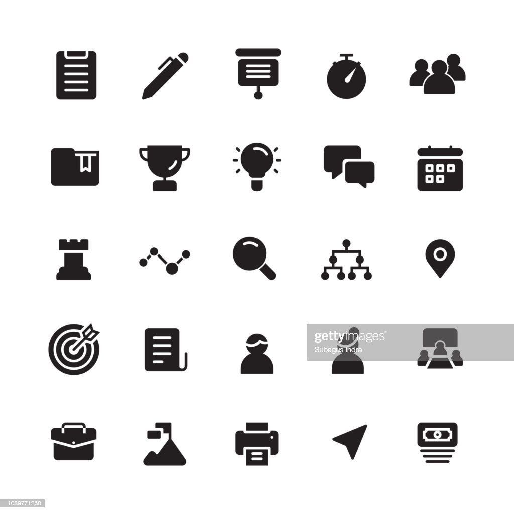 Business an management icons in solid style for any purpose