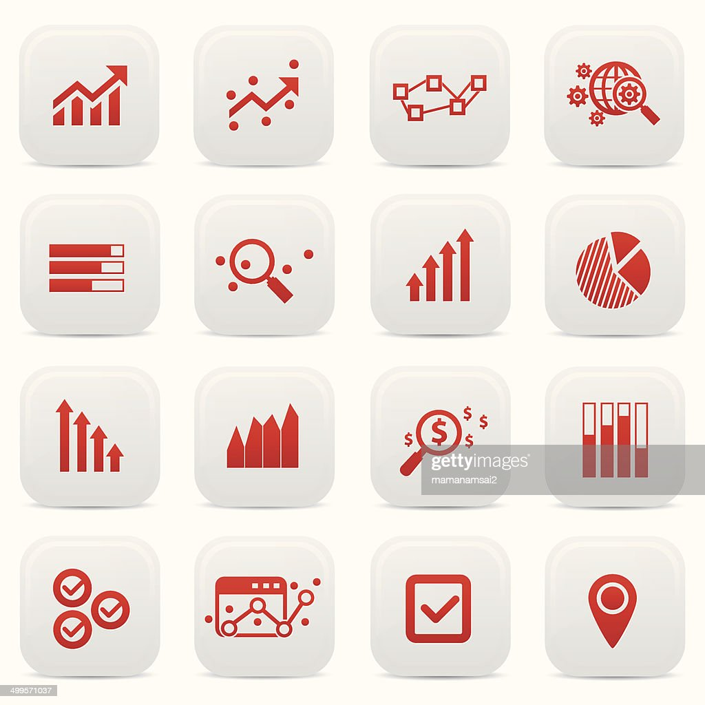 Business analysis buttons,Red version,vector
