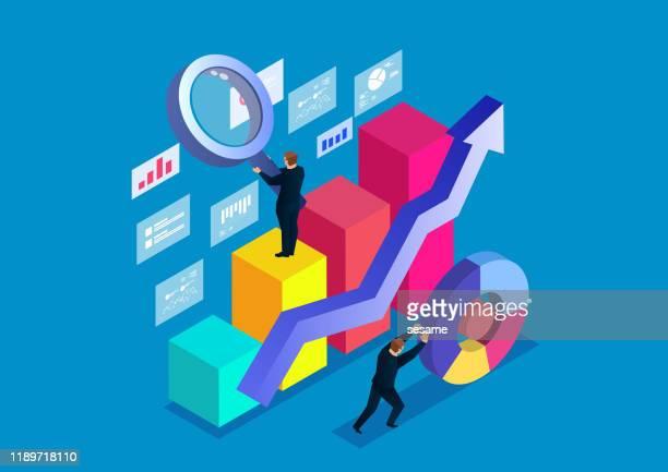 business analysis concept - big data isometric stock illustrations