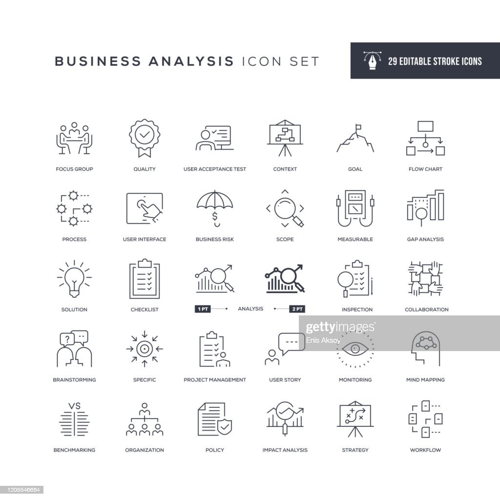 Business Analysis Editable Stroke Line Icons : Stock Illustration