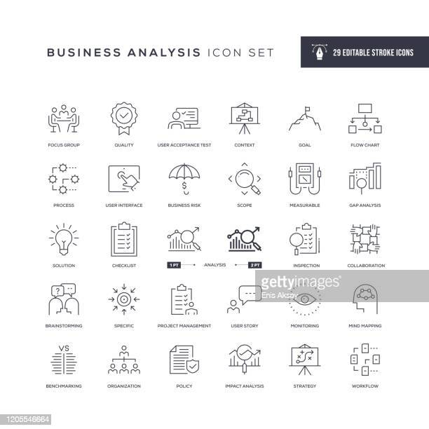 business analysis editable stroke line icons - business strategy stock illustrations