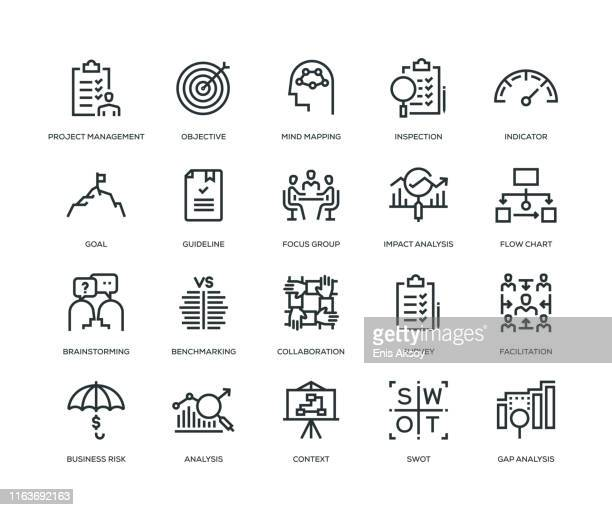 business analysis icon set - leadership stock illustrations