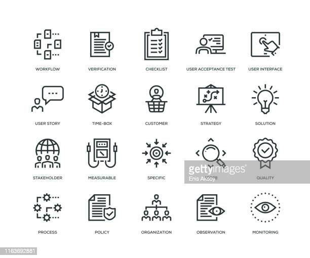 business analysis icon set - solutions stock illustrations