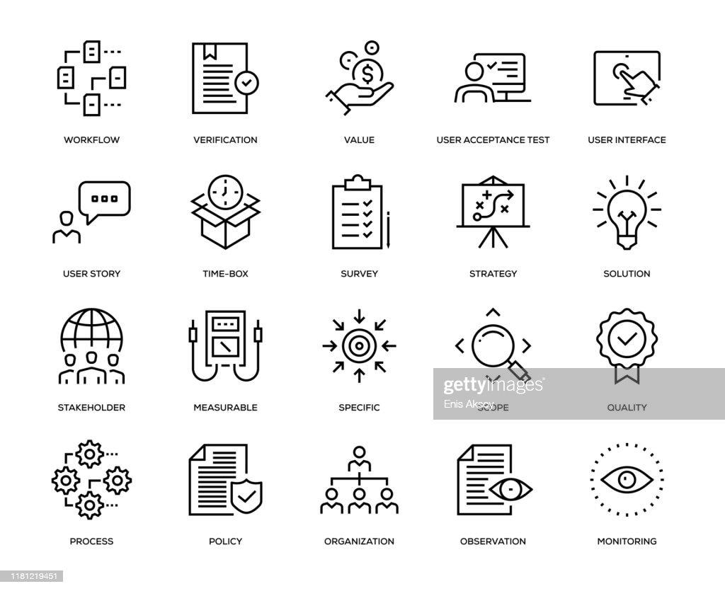 Set di icone analisi aziendale : Illustrazione stock