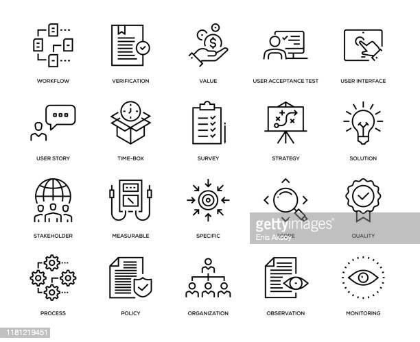 business analysis icon set - ideas stock illustrations