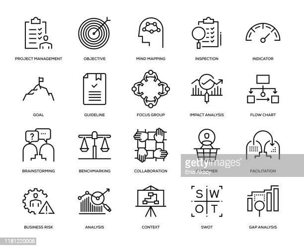 business analysis icon set - fokusgruppe stock-grafiken, -clipart, -cartoons und -symbole