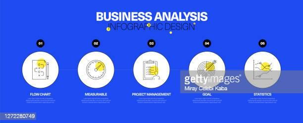 business analysis infographic design concept - fokusgruppe stock-grafiken, -clipart, -cartoons und -symbole