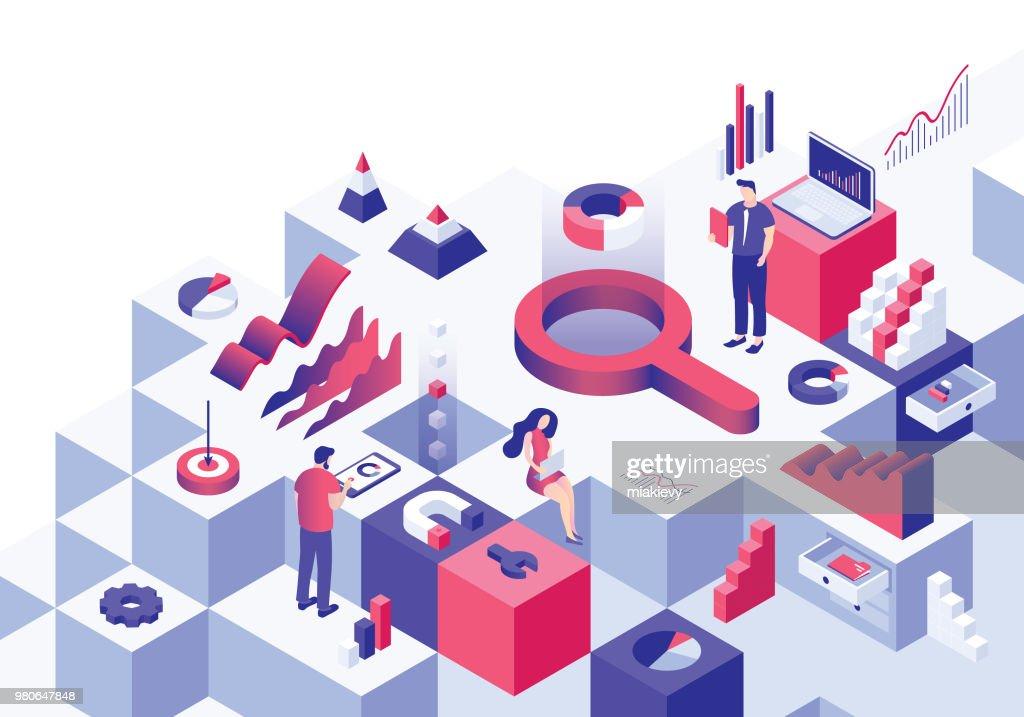 Conceito isométrico de análise de negócio : Ilustração