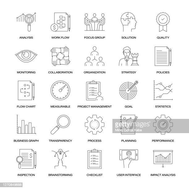 business analysis line icon set - fokusgruppe stock-grafiken, -clipart, -cartoons und -symbole