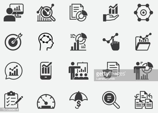 business analysis pixel perfect icons - messen stock-grafiken, -clipart, -cartoons und -symbole