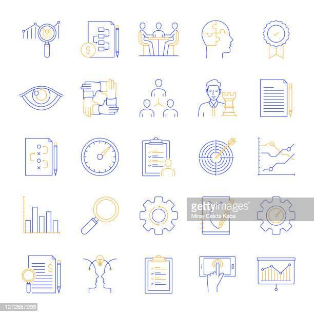 business analysis related color line icon set - fokusgruppe stock-grafiken, -clipart, -cartoons und -symbole