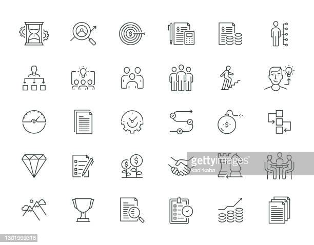 business analysis thin line serie - fokusgruppe stock-grafiken, -clipart, -cartoons und -symbole