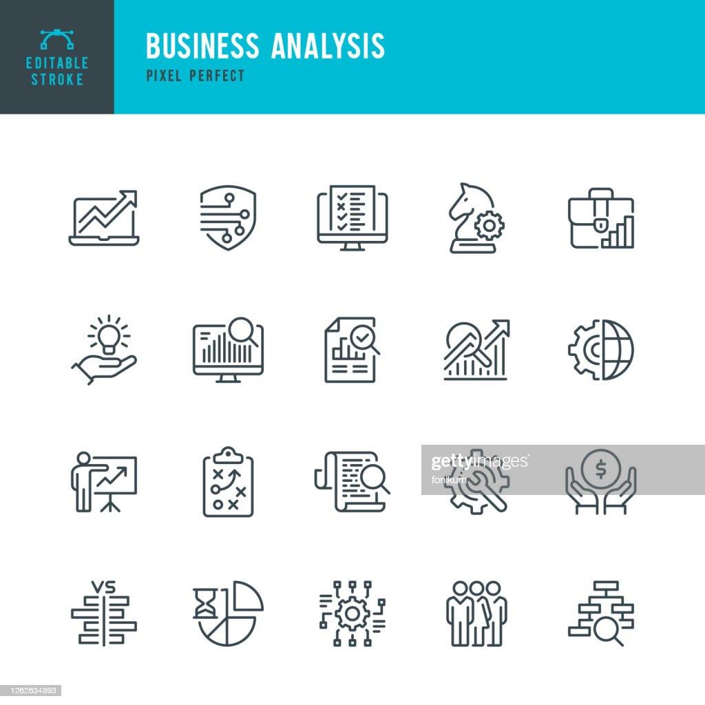 Análisis de negocio - conjunto de iconos vectoriales de línea fina. Pixel perfecto. Trazo editable. El conjunto contiene iconos: Estrategia de negocio, Big Data, Solución, Maletín, Investigación, Minería de datos, Contabilidad. : Ilustración de stock