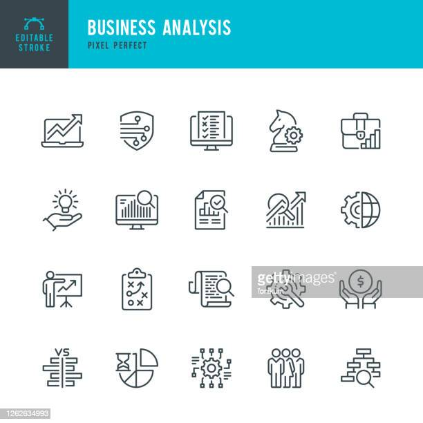 stockillustraties, clipart, cartoons en iconen met business analysis - thin line vector pictogram set. pixel perfect. bewerkbare lijn. de set bevat iconen: business strategy, big data, solution, briefcase, research, data mining, accountancy. - onderzoek