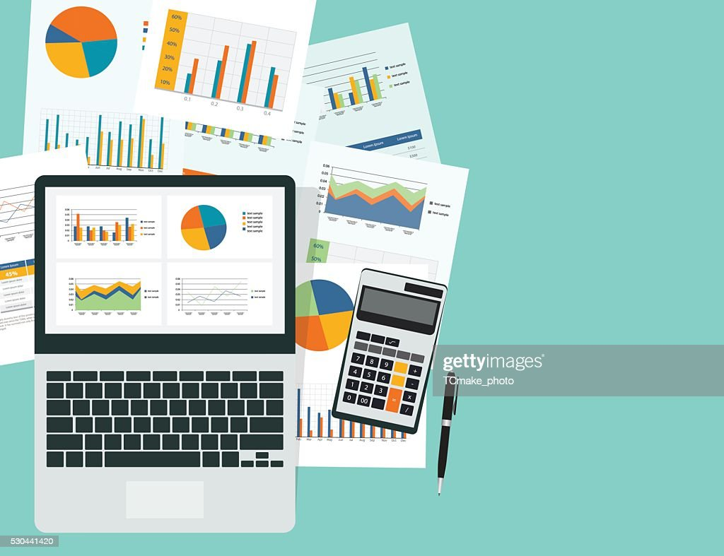 business analytic graph in device with report paper concept .business planning