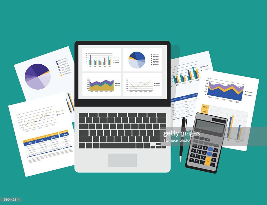 business analytic graph in tablet with report paper concept .business planning