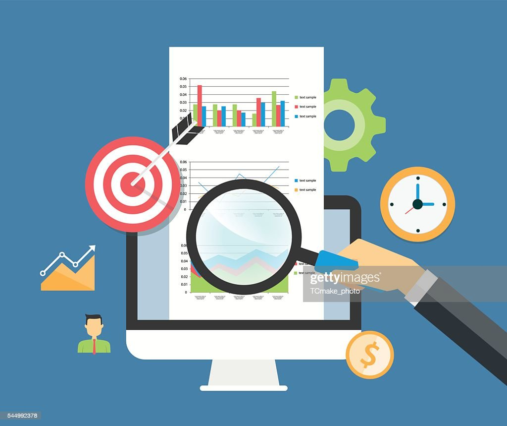 business analytic graph report and business investment planning concept