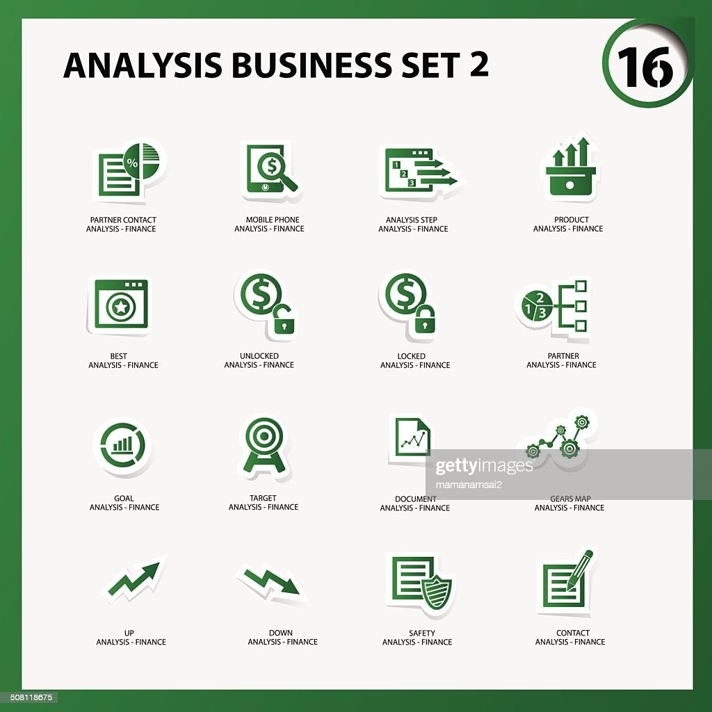 Business and analysis icon set 2,Green version,vector