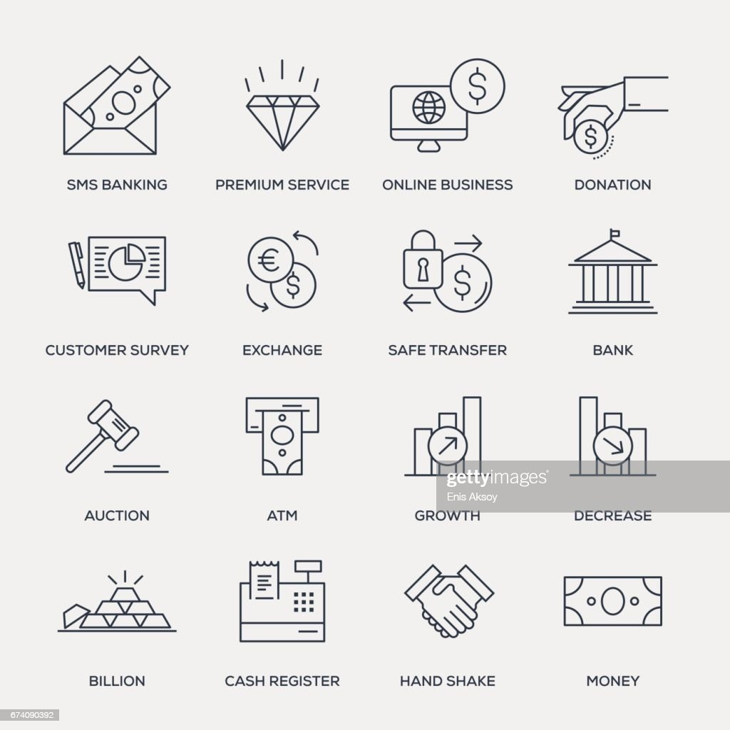 Business and Banking Icon Set - Line Series