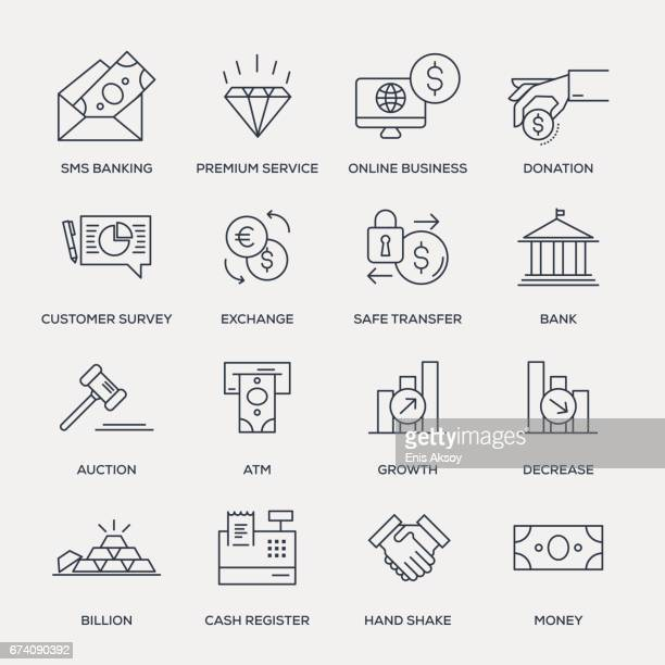 business and banking icon set - line series - auction stock illustrations