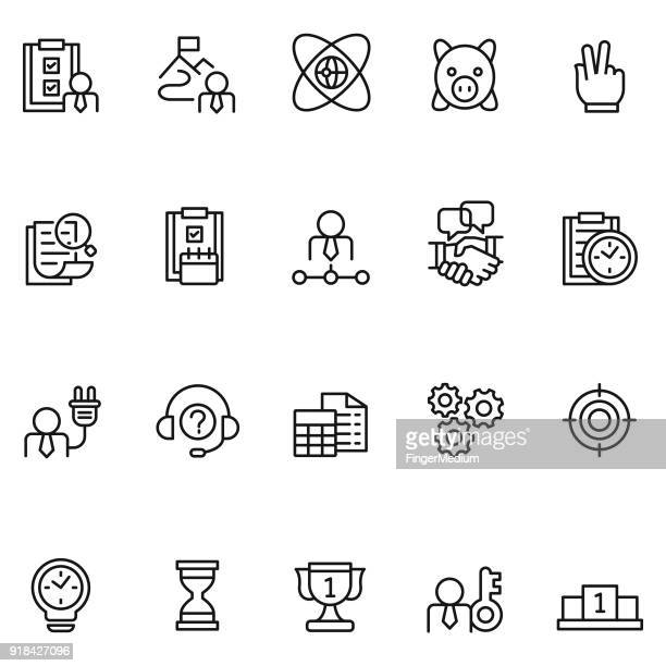 business and employee icon set - retail employee stock illustrations