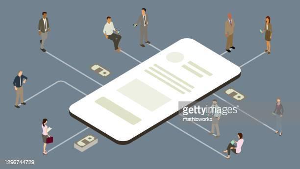 abbildung der business- und finanz-app - gafam stock-grafiken, -clipart, -cartoons und -symbole