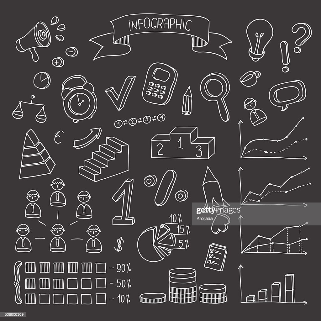 Negócios e Finanças mão desenhada Infográfico elementos de design. : Arte vetorial