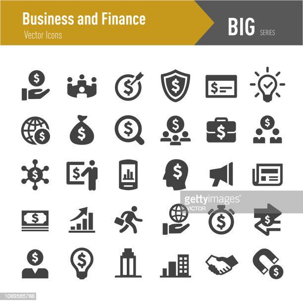 business and finance icon - big series - dollar sign stock illustrations