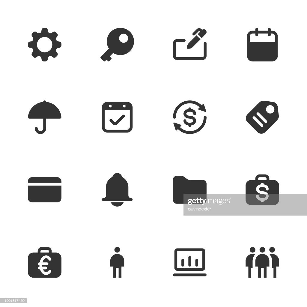Business and Finance icon set - dark solid series