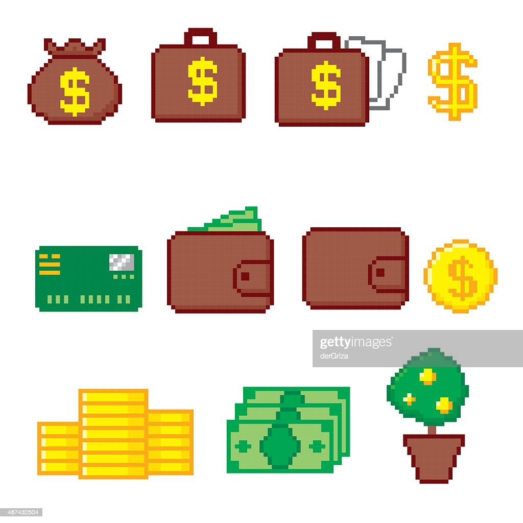 Business and finance icon set. Pixel art. Old school computer